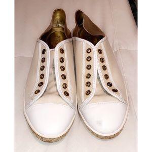 Michael Kors canva white gold sneakers!